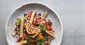 February 2016 - Cookery - Issue 248 - Griddled Halloumi with Red Onion, Haricot Bean and Tomato Salad