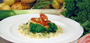 March 2016 - Cookery - Issue 249 - Cod on a Potato & Leek Risotto with Buttered Greens