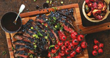 July 2016 - Cookery - Port-Marinated Skirt Steak & Roasted Grape Tomatoes - Issue 253