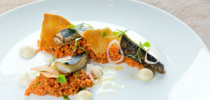 August 2016 - Cookery - Cured BBQ Mackerel with Tomato Cous Cous, Lavosh & Lemon Mayonnaise - Issue 254