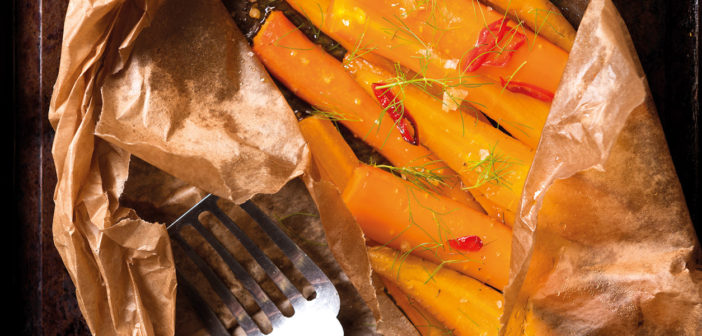 Cookery - Paper Bag Baked Carrots with Lemon Oil, Fennel and Chilli, and Mint Labneh - Issue 260