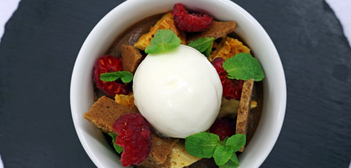 May 2017 - Cookery - Chocolate Pot with Demerara Biscuit, Honeycomb & Raspberries - Issue 263