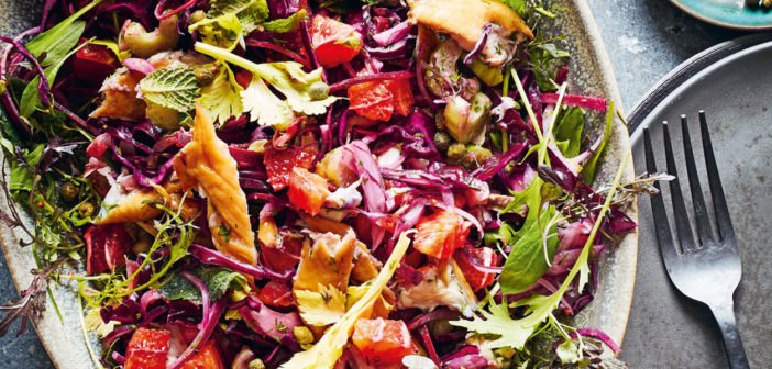 November 2019 - Cookery - Winter Salad of Red Leaves, Mackerel and Orange - Issue 293