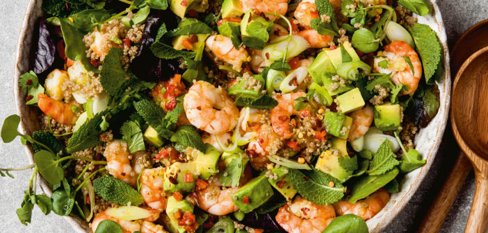 February 2020 - Cookery - Prawn, avocado and quinoa salad - Issue 296