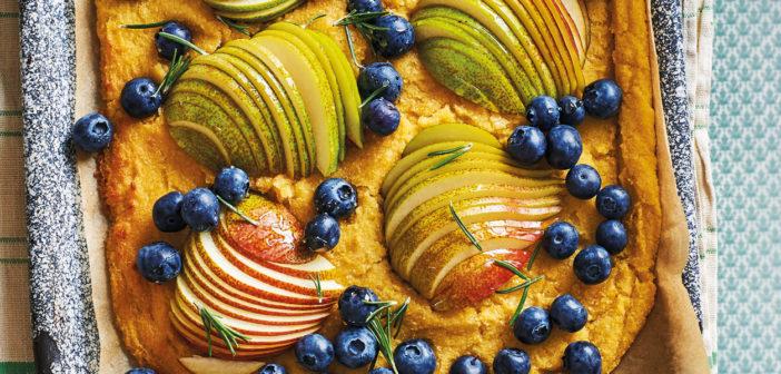 September 2020 - Cookery - Polenta, Pear & Blueberry Tart - Issue 301
