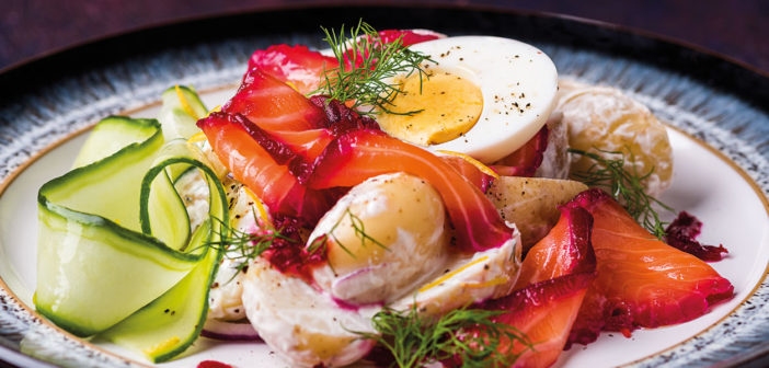December 2020 - Cookery - Beetroot Cured Salmon with Potato & Crème Fraiche Salad - Issue 304