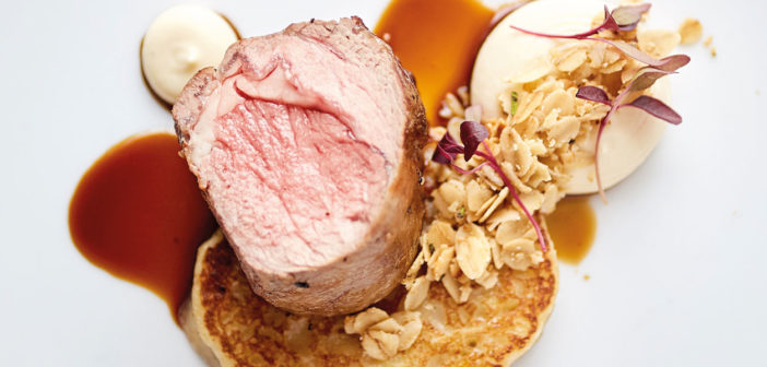 Hay Smoked Mourne Mountain Lamb, Wild Garlic Boxty Toasted Oatmeal, Quiet Man 12 Year Old Whiskey