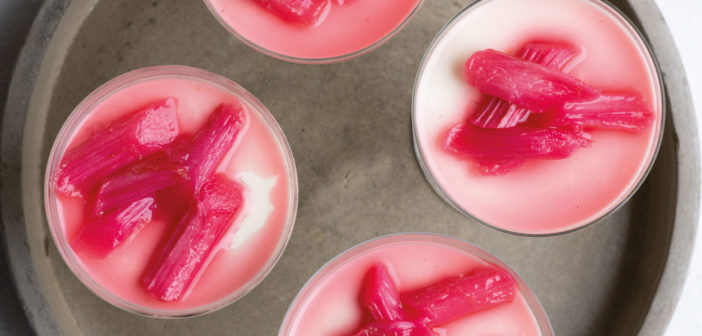 Cardamom Infused Panna Cotta with Poached Rhubarb
