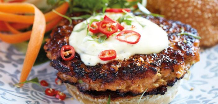 Soy-Glazed Salmon Burger with Asian Aioli and Slaw